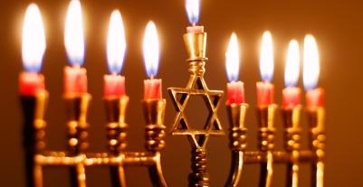 Closeup of Hanukkah Menorah