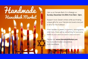 Postcard with information about the 2014 Handmade Hanukkah Market in Raleigh, NC.