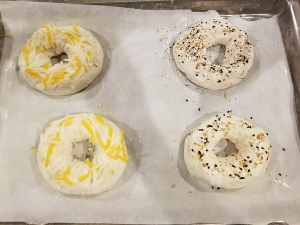 4 homemade bagels before baking